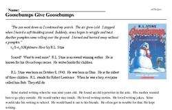 Print <i><i>Goosebumps</i> Give Goosebumps</i> reading comprehension.
