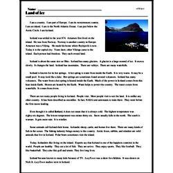 Print <i>Land of Ice</i> reading comprehension.