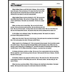 Print <i>Mrs. President?</i> reading comprehension.