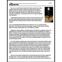 Print <i>Flying Disc Fun</i> reading comprehension.
