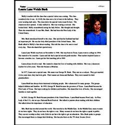 Print <i>Laura Lane Welch Bush</i> reading comprehension.