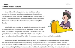 Print <i>Sweet Miss Freddie</i> reading comprehension.