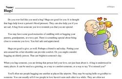 Print <i>Hugs!</i> reading comprehension.