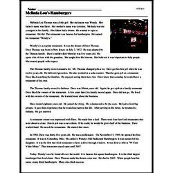 Print <i>Melinda Lou's Hamburgers</i> reading comprehension.