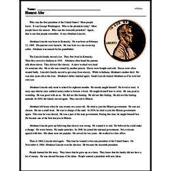 Print <i>Honest Abe</i> reading comprehension.