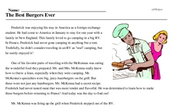 Print <i>The Best Burgers Ever</i> reading comprehension.