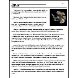Print <i>Ice Desert</i> reading comprehension.