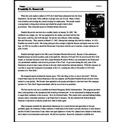 Print <i>Franklin D. Roosevelt</i> reading comprehension.