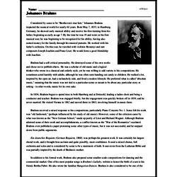 Print <i>Johannes Brahms</i> reading comprehension.