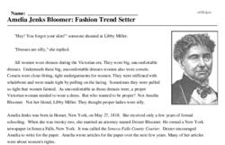 Print <i>Amelia Jenks Bloomer: Fashion Trend Setter</i> reading comprehension.