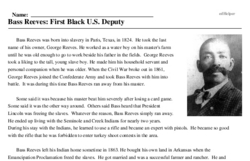 Print <i>Bass Reeves: First Black U.S. Deputy</i> reading comprehension.