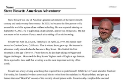 Print <i>Steve Fossett: American Adventurer</i> reading comprehension.