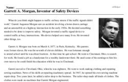 Print <i>Garrett A. Morgan, Inventor of Safety Devices</i> reading comprehension.