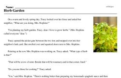 Print <i>Herb Garden</i> reading comprehension.