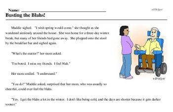 Print <i>Busting the Blahs!</i> reading comprehension.