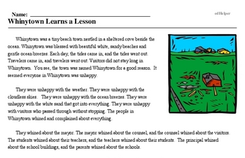Print <i>Whinytown Learns a Lesson</i> reading comprehension.
