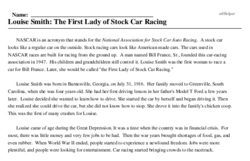 Print <i>Louise Smith: The First Lady of Stock Car Racing</i> reading comprehension.