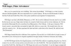 Print <i>Will Steger, Polar Adventurer</i> reading comprehension.