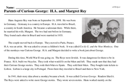 Print <i>Parents of Curious George: H.A. and Margret Rey</i> reading comprehension.