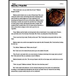 Print <i>Shoo Fly, I Want Pie!</i> reading comprehension.