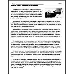 Print <i>Broken Bone Champion - Evel Knievel</i> reading comprehension.