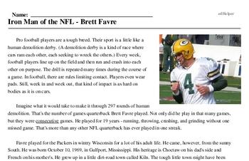 Print <i>Iron Man of the NFL - Brett Favre</i> reading comprehension.