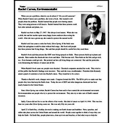 Print <i>Rachel Carson, Environmentalist</i> reading comprehension.