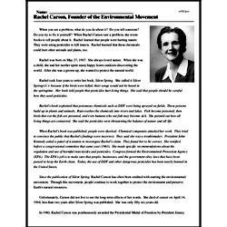 Print <i>Rachel Carson, Founder of the Environmental Movement</i> reading comprehension.