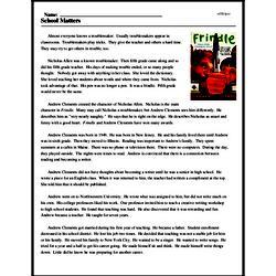Print <i>School Matters</i> reading comprehension.