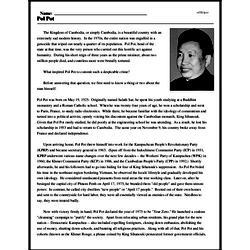 Print <i>Pol Pot</i> reading comprehension.