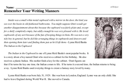 Print <i>Remember Your Writing Manners</i> reading comprehension.