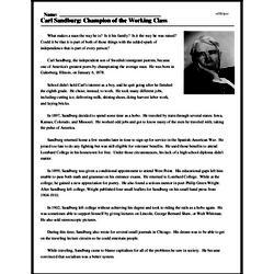 Print <i>Carl Sandburg: Champion of the Working Class</i> reading comprehension.