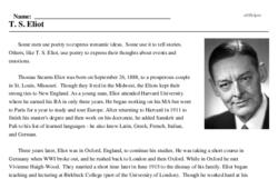 Print <i>T. S. Eliot</i> reading comprehension.