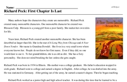 Richard Peck: First Chapter Is Last