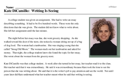 Print <i>Kate DiCamillo: Writing Is Seeing</i> reading comprehension.