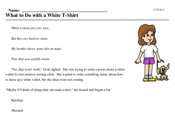 Print <i>What to Do with a White T-Shirt</i> reading comprehension.