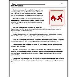 Print <i>Fire Prevention</i> reading comprehension.