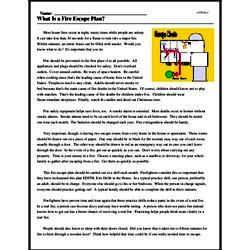 Print <i>What Is a Fire Escape Plan?</i> reading comprehension.