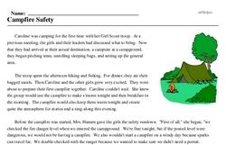 Print <i>Campfire Safety</i> reading comprehension.