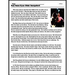 Print <i>Pam Munoz Ryan--Ethnic Smorgasbord</i> reading comprehension.
