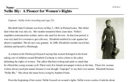 Print <i>Nellie Bly: A Pioneer for Women's Rights</i> reading comprehension.