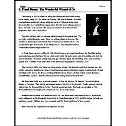 Print <i>L. Frank Baum: The Wonderful Wizard of Oz</i> reading comprehension.