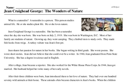 Print <i>Jean Craighead George: The Wonders of Nature</i> reading comprehension.