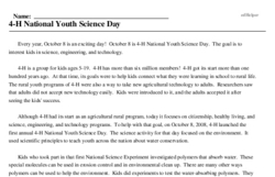 Print <i>4-H National Youth Science Day</i> reading comprehension.