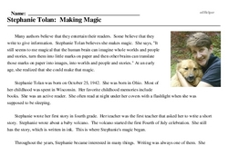 Print <i>Stephanie Tolan: Making Magic</i> reading comprehension.