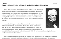 Horace Mann, Father of American Public School Education