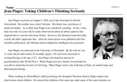 Jean Piaget: Taking Children's Thinking Seriously