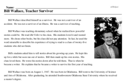 Print <i>Bill Wallace, Teacher Survivor</i> reading comprehension.