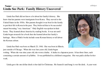 Linda Sue Park: Family History Uncovered