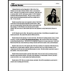 Print <i>Catharine Beecher</i> reading comprehension.